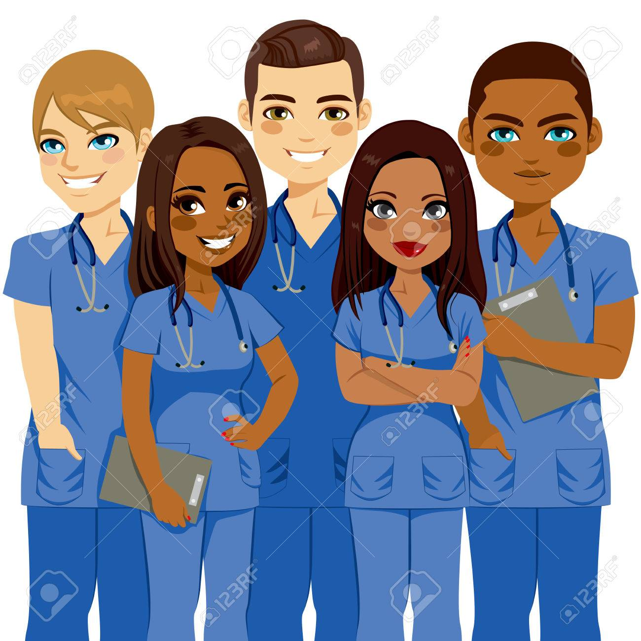 Young diversity male and female nurse team - 60323493