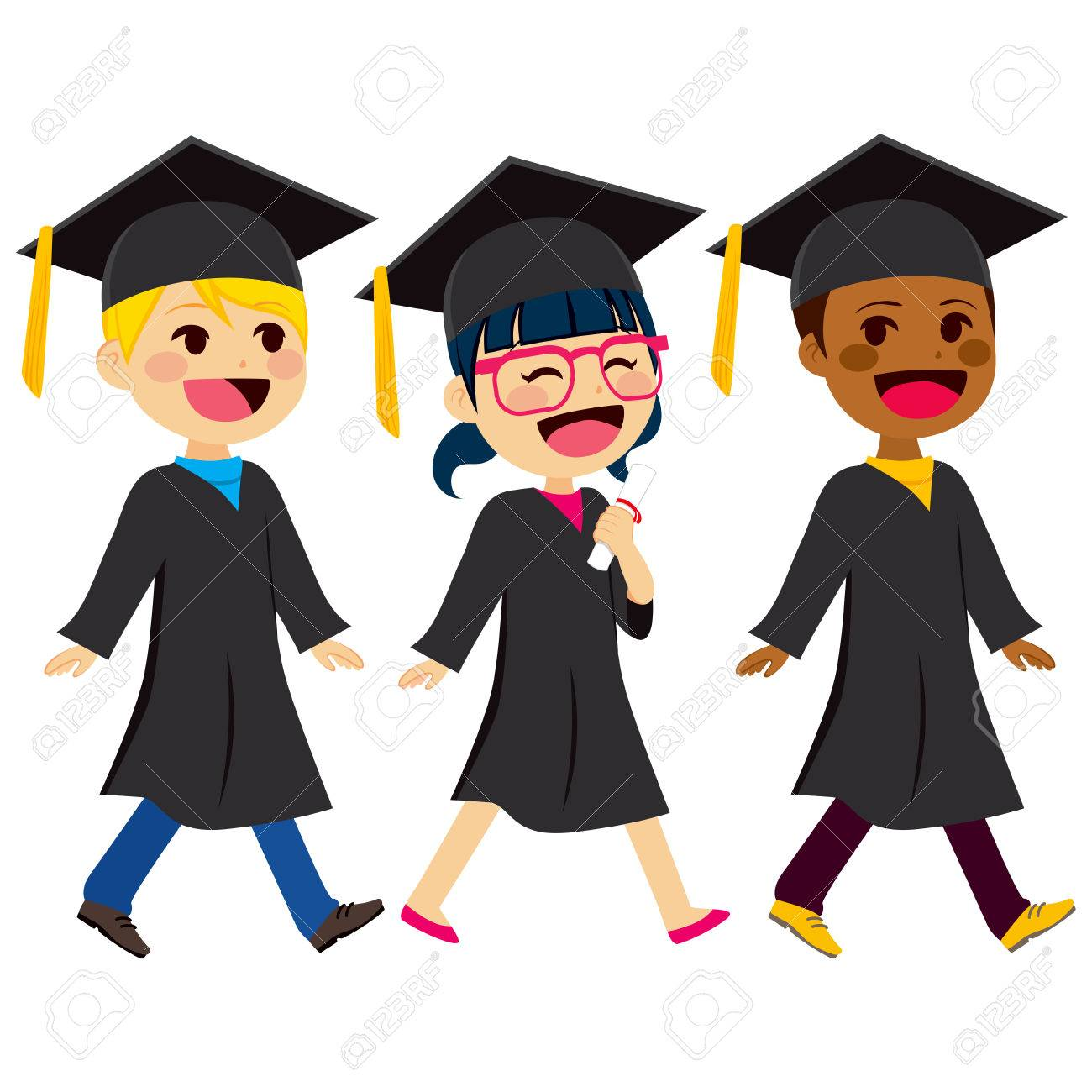 Cute Kids Of Different Ethnicity With Black Graduation Gown And ...