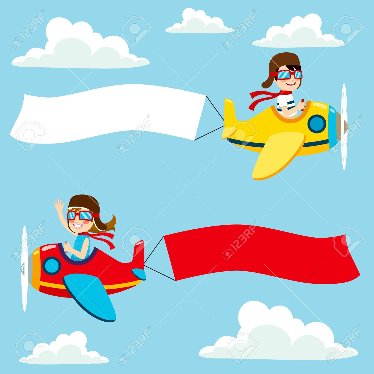 little pilot kids on airplane with white and red blank banner stock vector 61440151