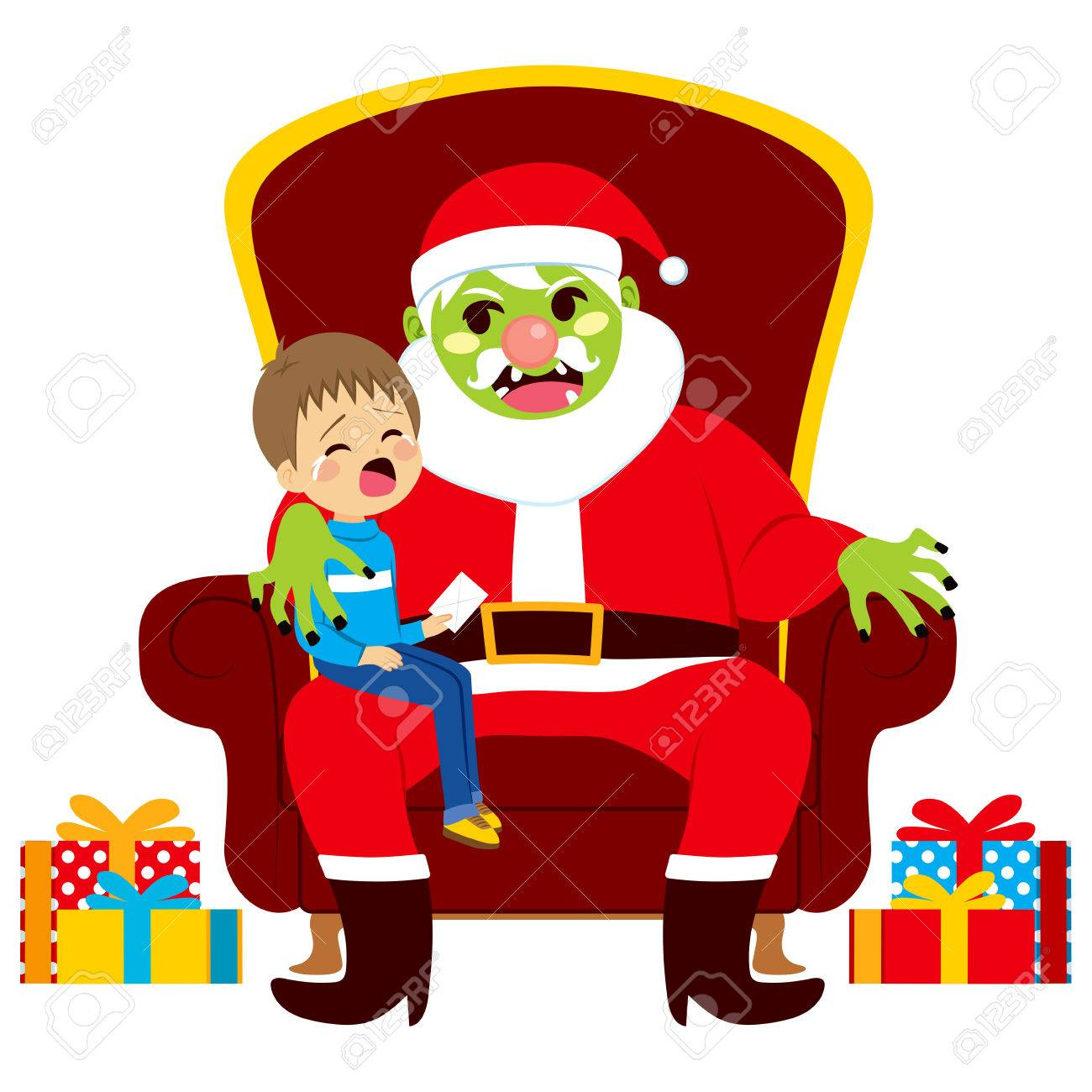 Christmas Zombie Santa.Santa Zombie Sitting With Crying Kid Holding Letter With Christmas