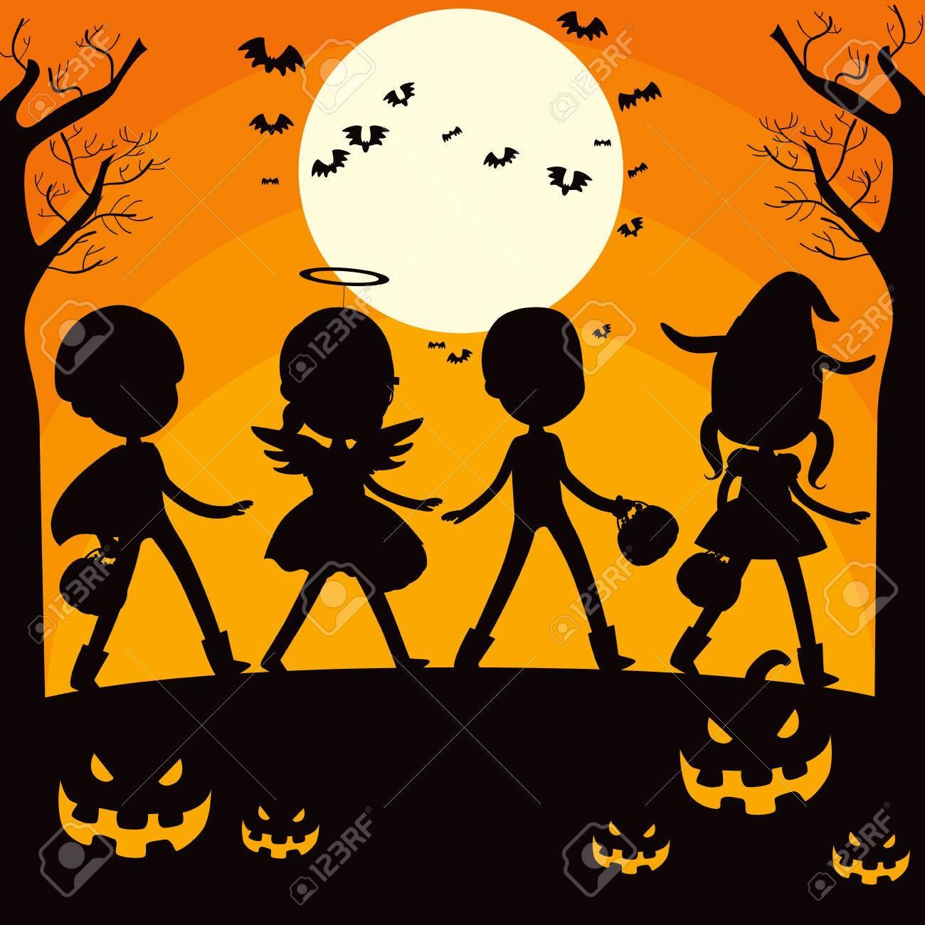 Halloween Trick Or Treat Silhouette.Children And Pumpkin Silhouette On Trick Or Treat Halloween Night