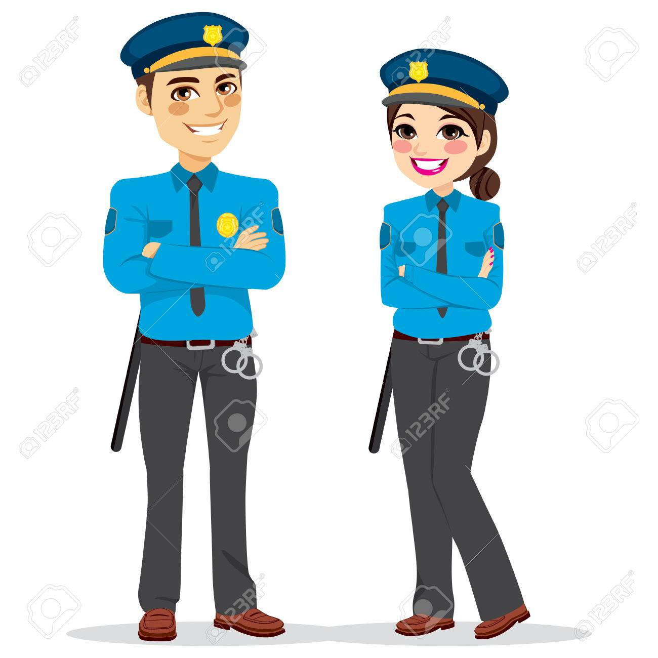 Young female and male police officers standing isolated on white background - 63072567