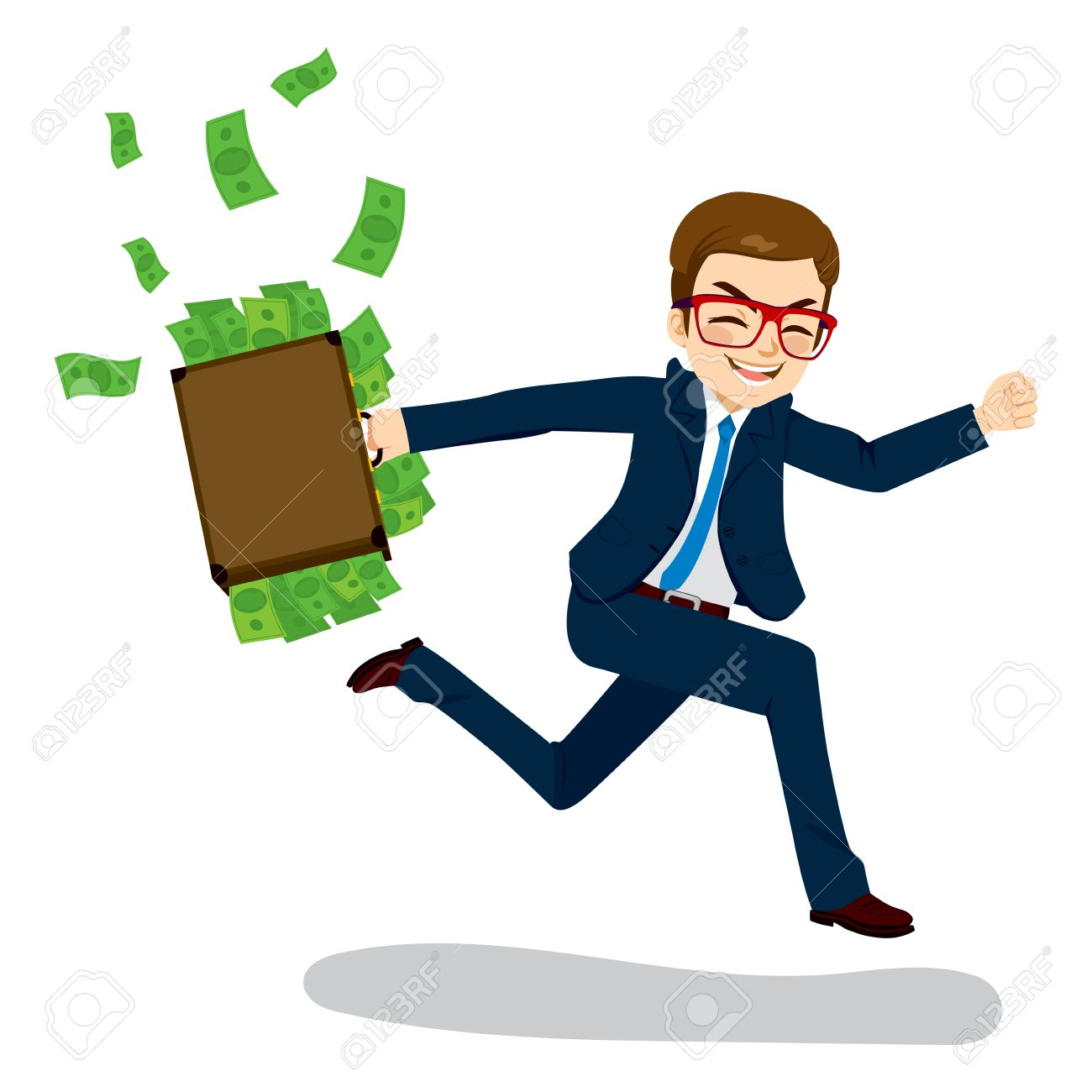 Young businessman happy running away carrying briefcase full with money spilling - 63072570