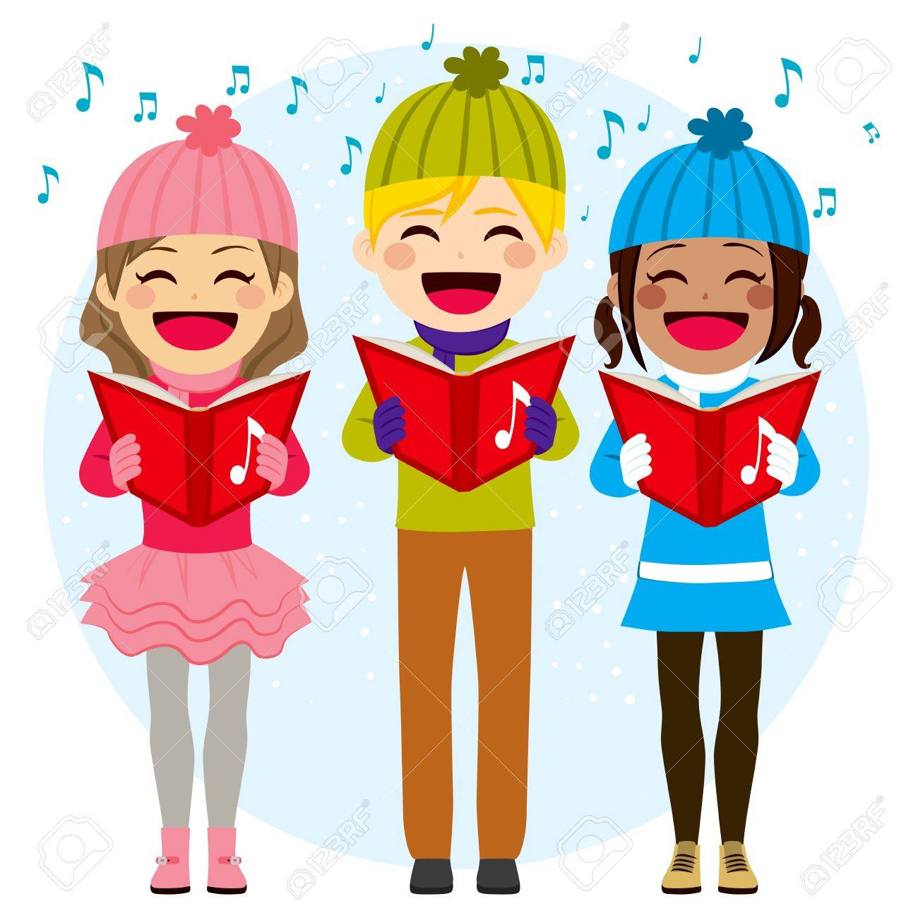Flat Color Style Illustration Of Kids Singing Christmas Carols ...