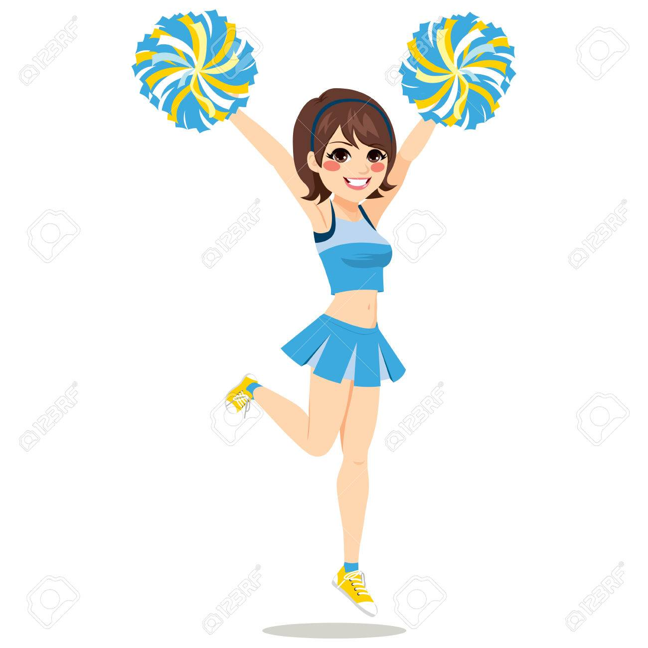 Happy Young Cheerleader Girl Jumping With Pom Poms On Blue Uniform Stock Vector 67961664