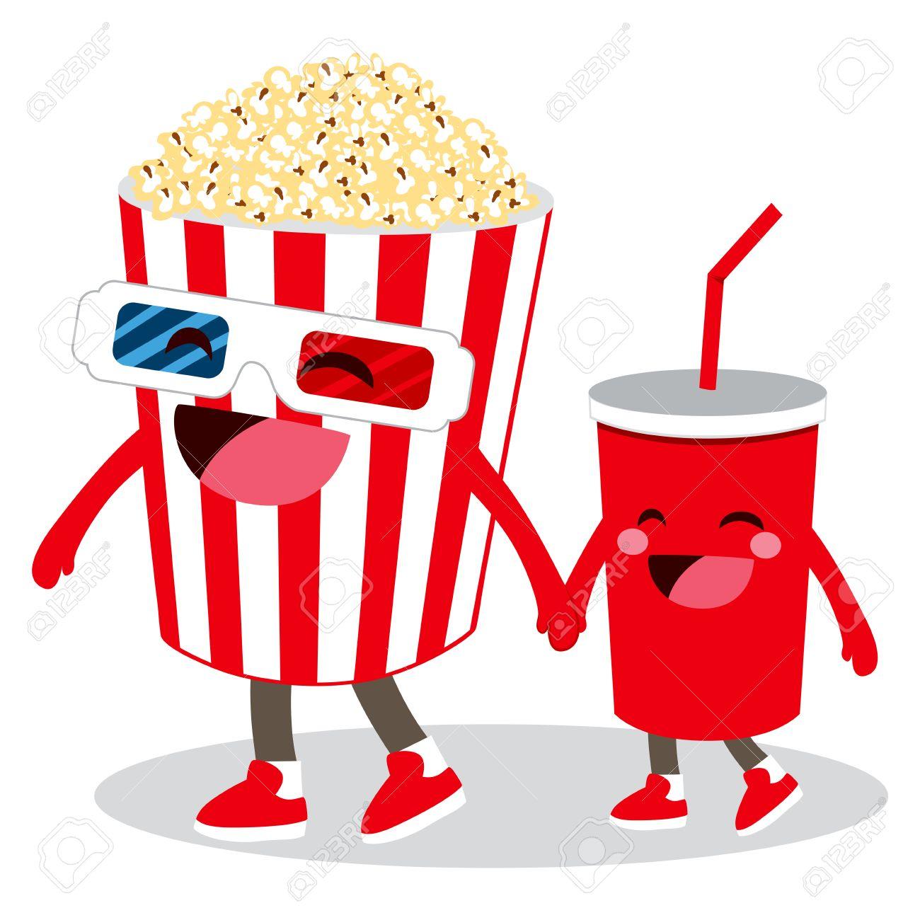 2 つのかわいい映画館ポップコーンとコーラ アニメーション文字お友達と