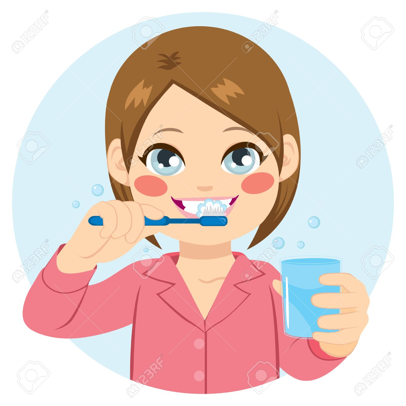 cute little girl brushing teeth and holding glass of water royalty rh 123rf com child brushing teeth clipart brush teeth clipart