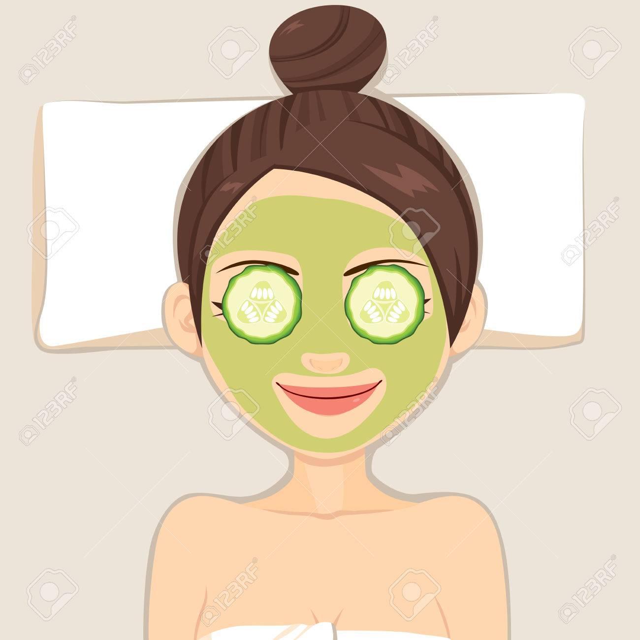 Facial with cucumber