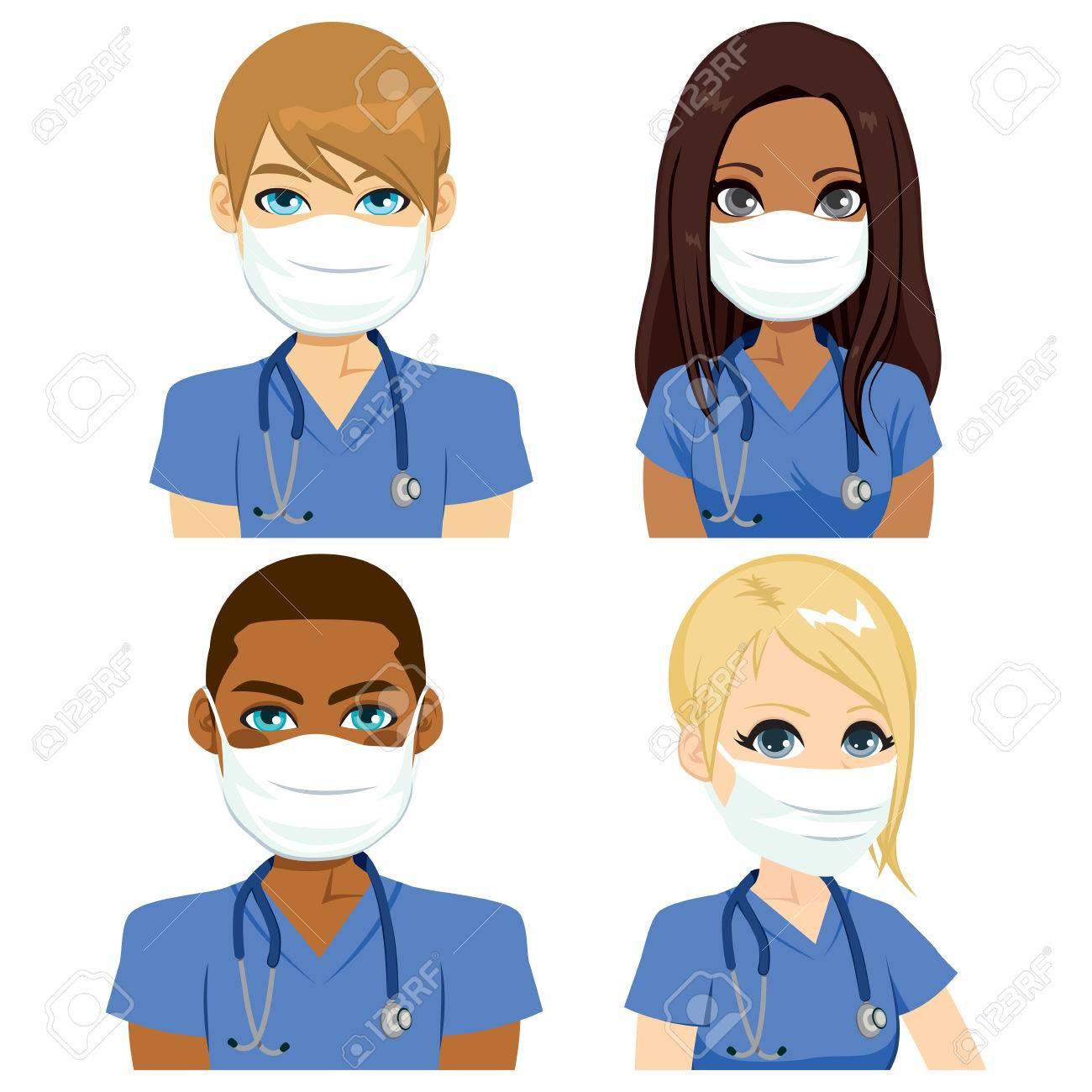 vaste gamme de nouveau style beau lustre Infirmière de santé équipe personnes portant un masque chirurgical avec un  stéthoscope