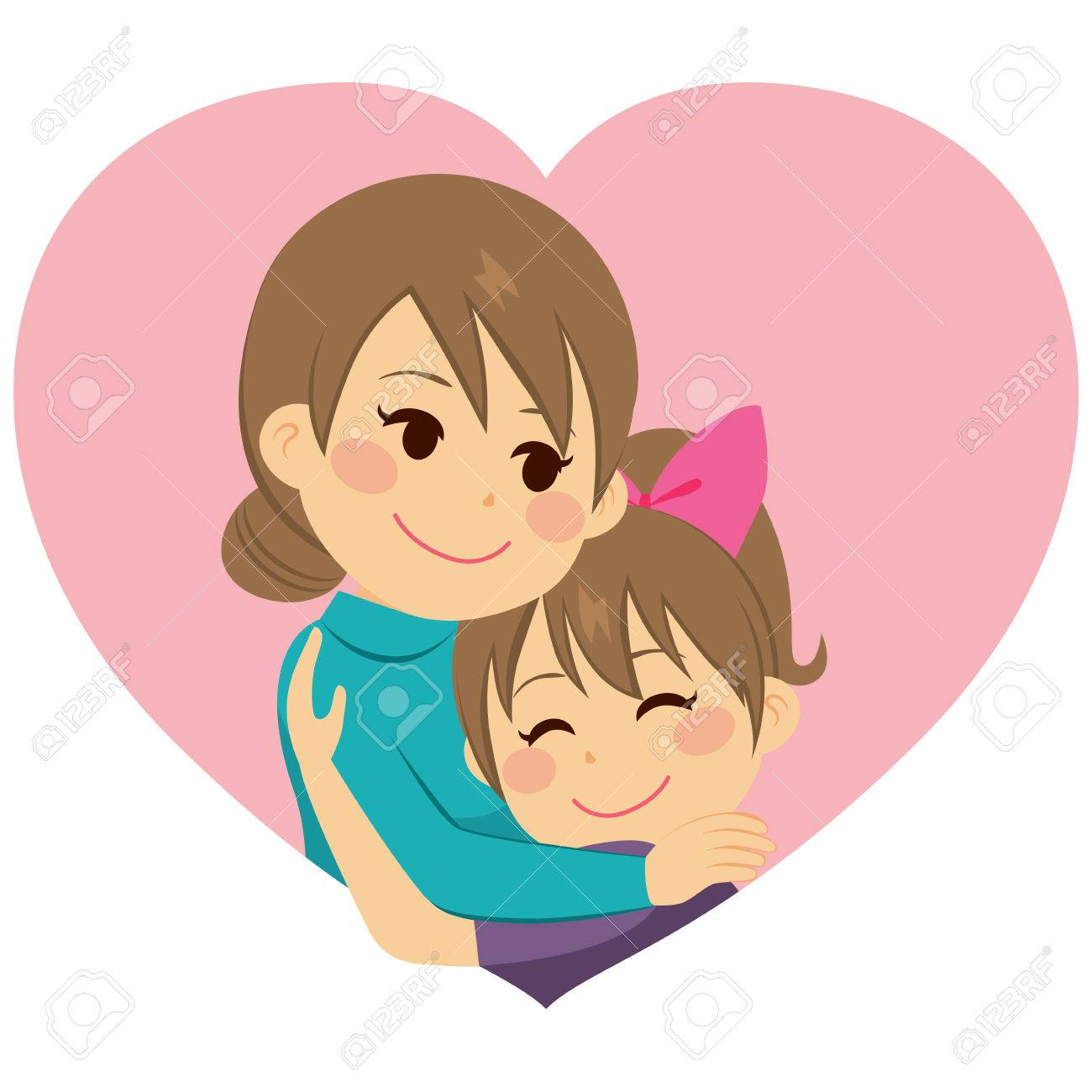cute little girl daughter hugging mom celebrating mother s day rh 123rf com mommy and daughter clipart mother and daughter clipart free