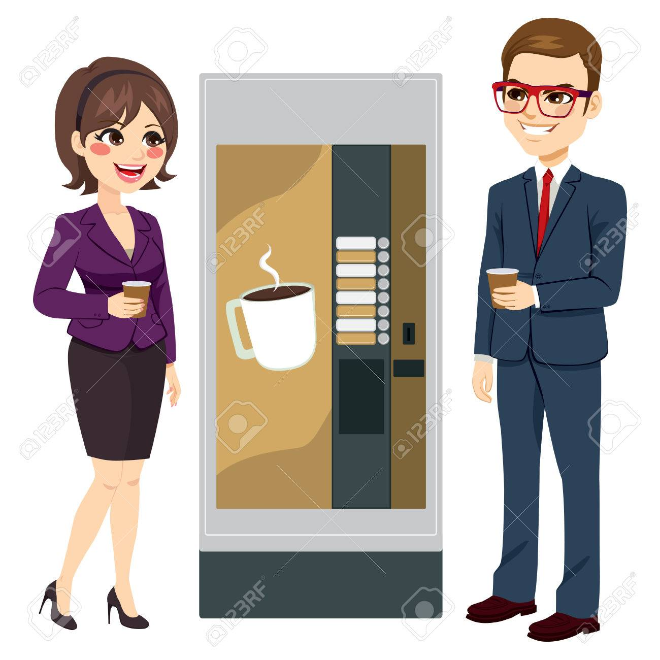 Two workers enjoying coffee standing next to vending machine - 74125760
