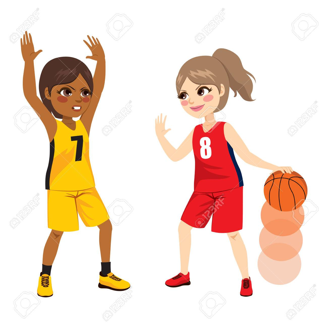 two young female girls playing on basketball match royalty free rh 123rf com Basketball Court Clip Art Women's Basketball Clip Art