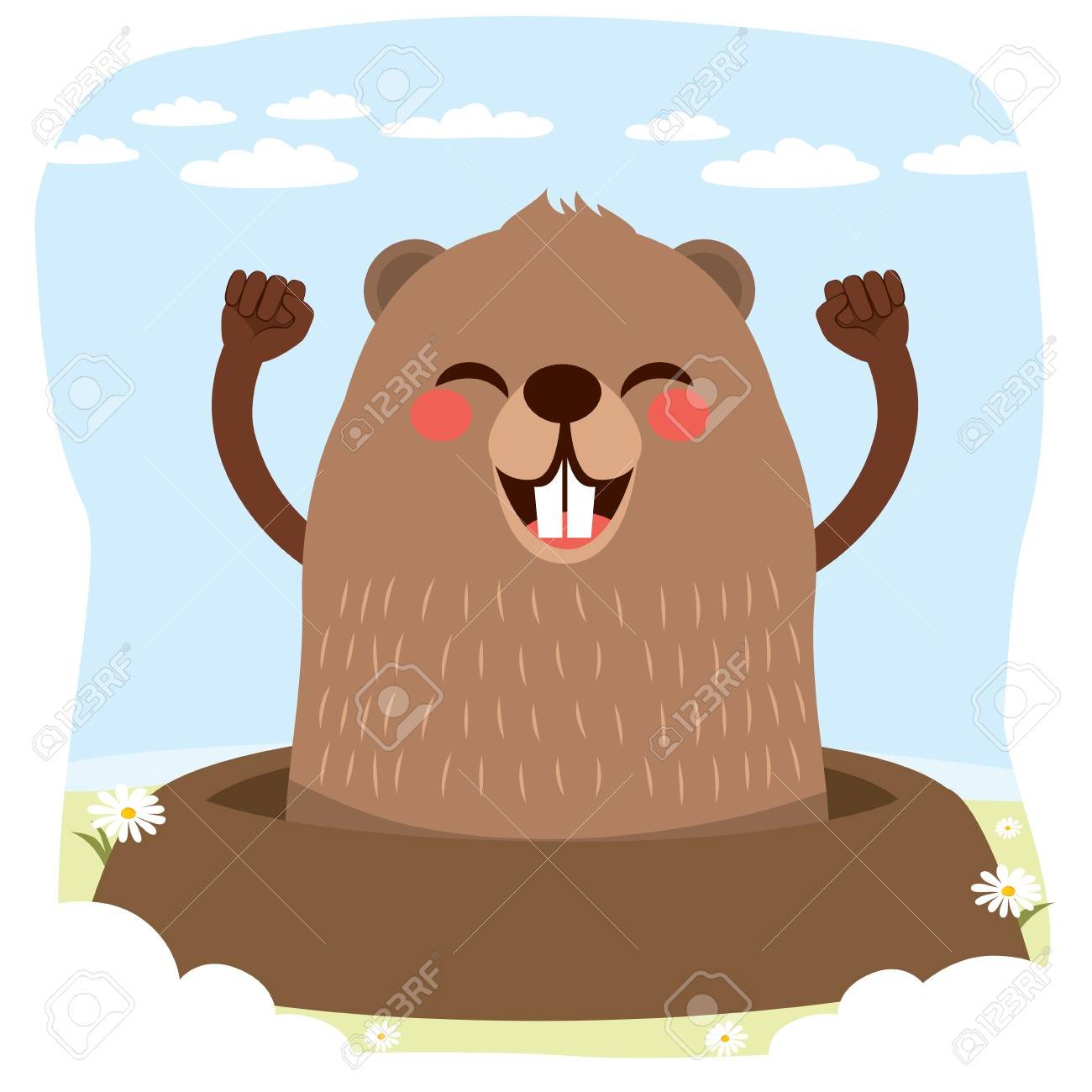 No Shadows To Be Seen On Groundhog Day >> Happy Cute Groundhog Celebrating Groundhog Day With No Shadow