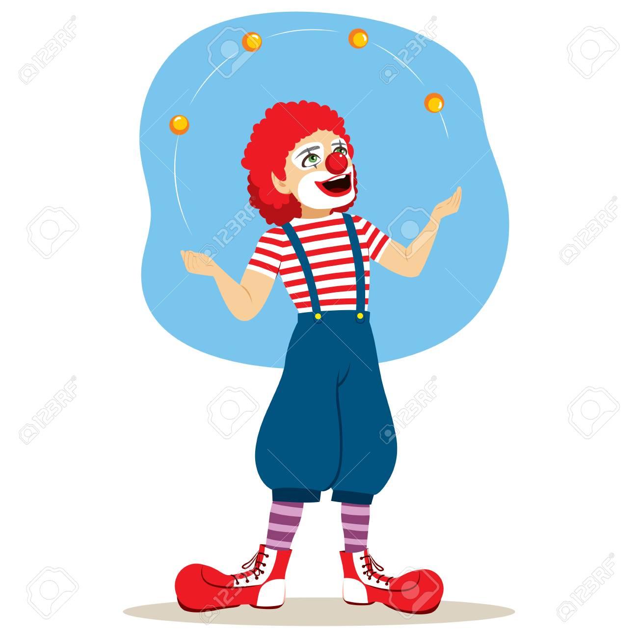 Girl and clown juggling balls illustration.