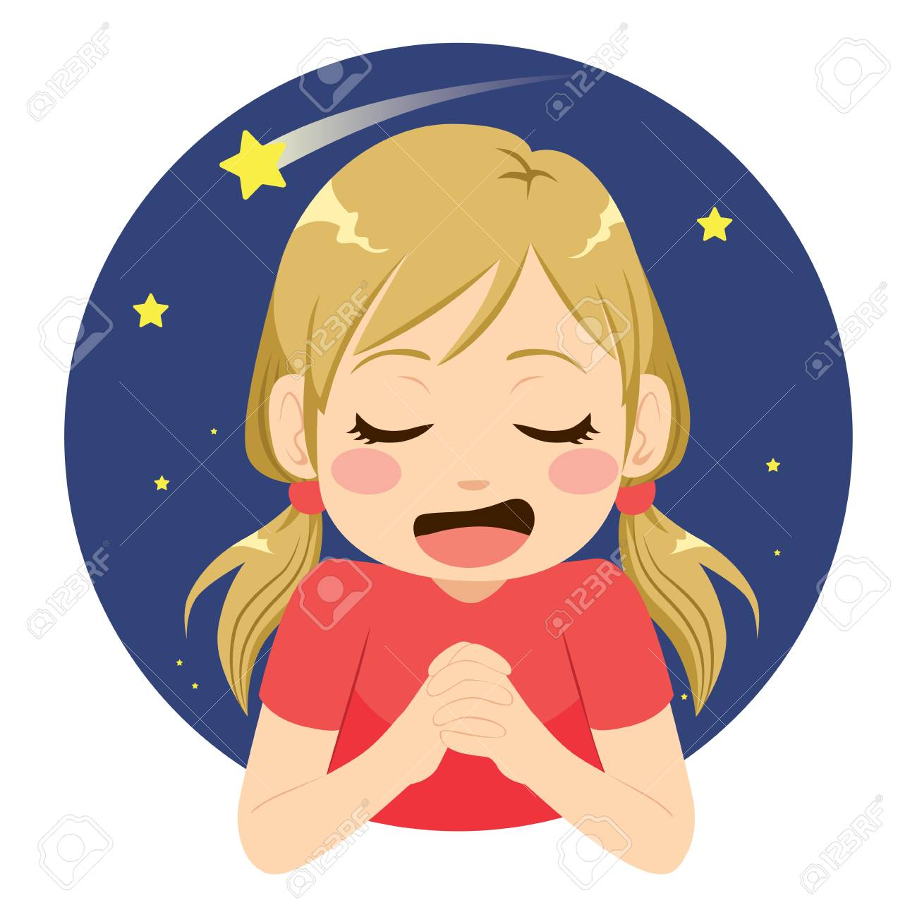 Beautiful little girl making wish praying to shooting star with happy face expression - 107433910