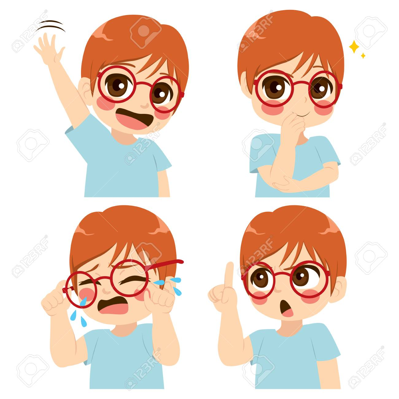Little cute boy with glasses making different face and gesture expression set collection - 107433914