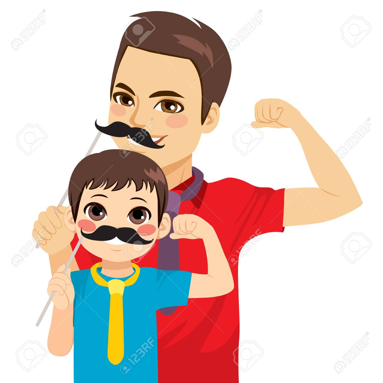 Cute funny man dad and kid son wearing black mustache mask - 107433935