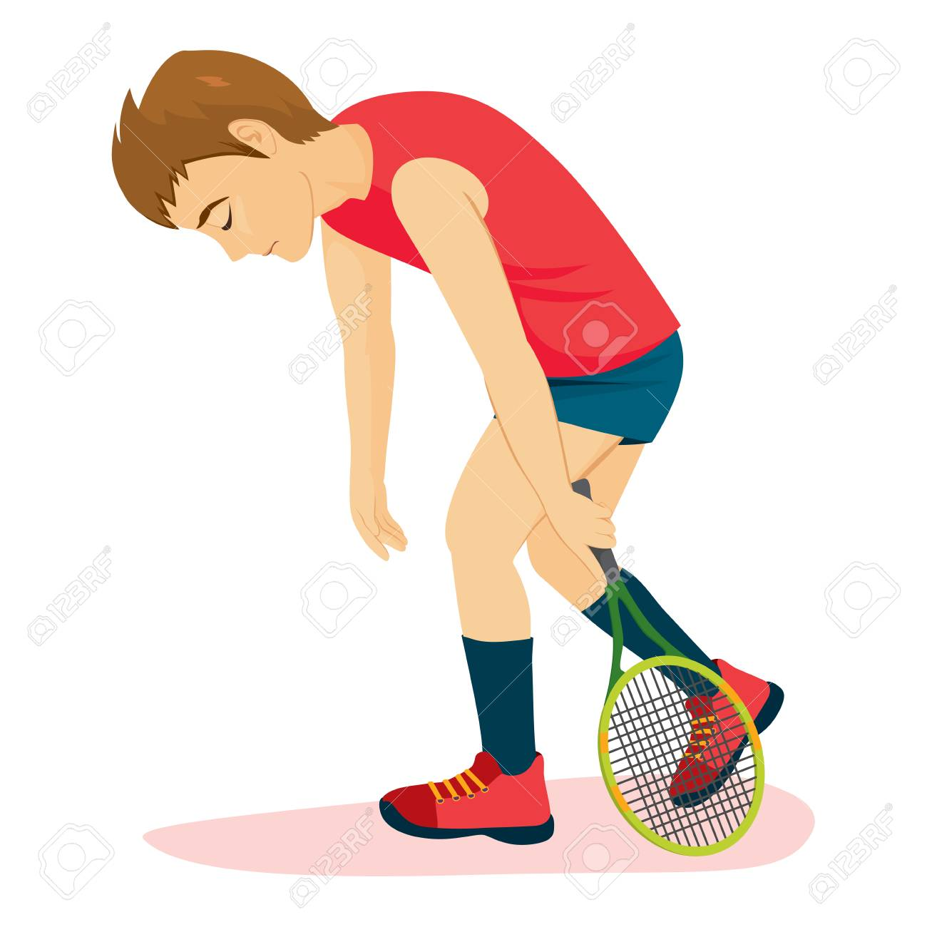 Defeated sad tennis player man walking depressed with racket - 109790116