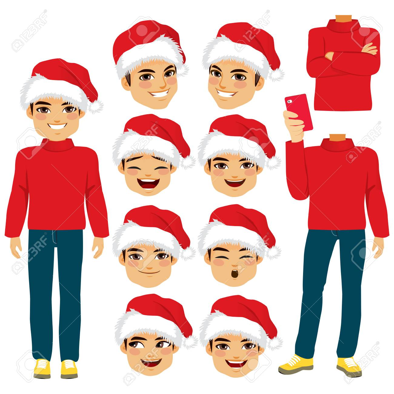 Young Man With Santa Hat Costume Paper Doll Male A Set Of