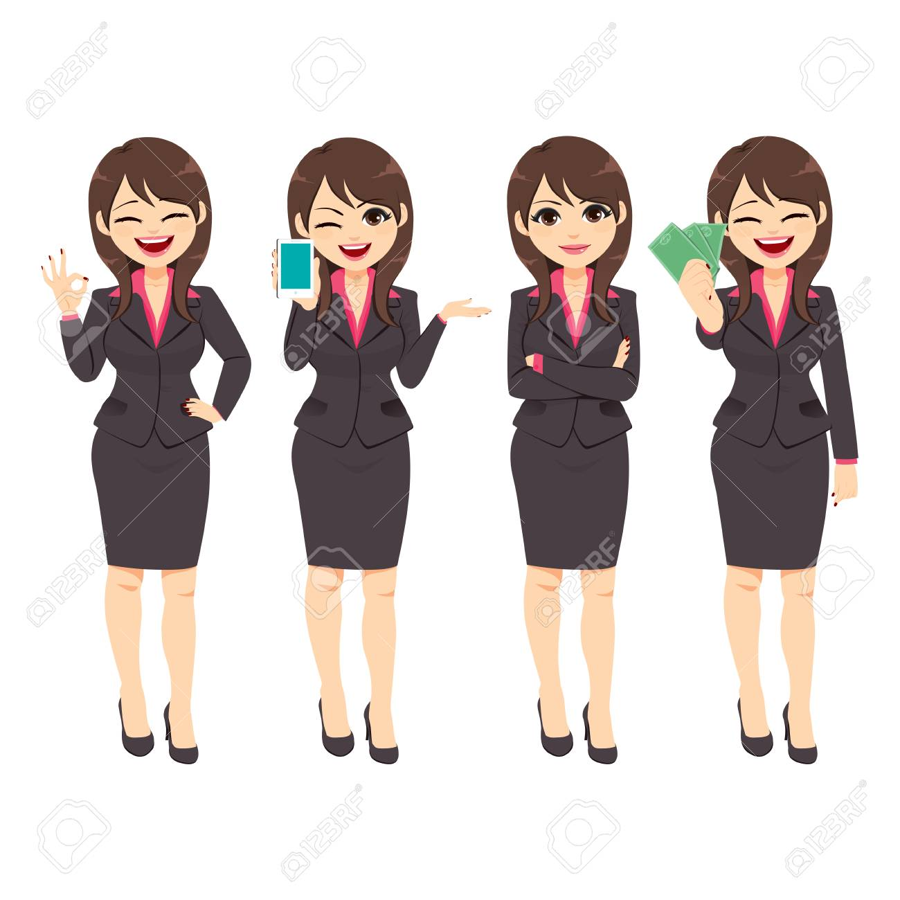 bd31346429ca4 Beautiful businesswoman working character on different poses holding  different office accessories Stock Vector - 113294816