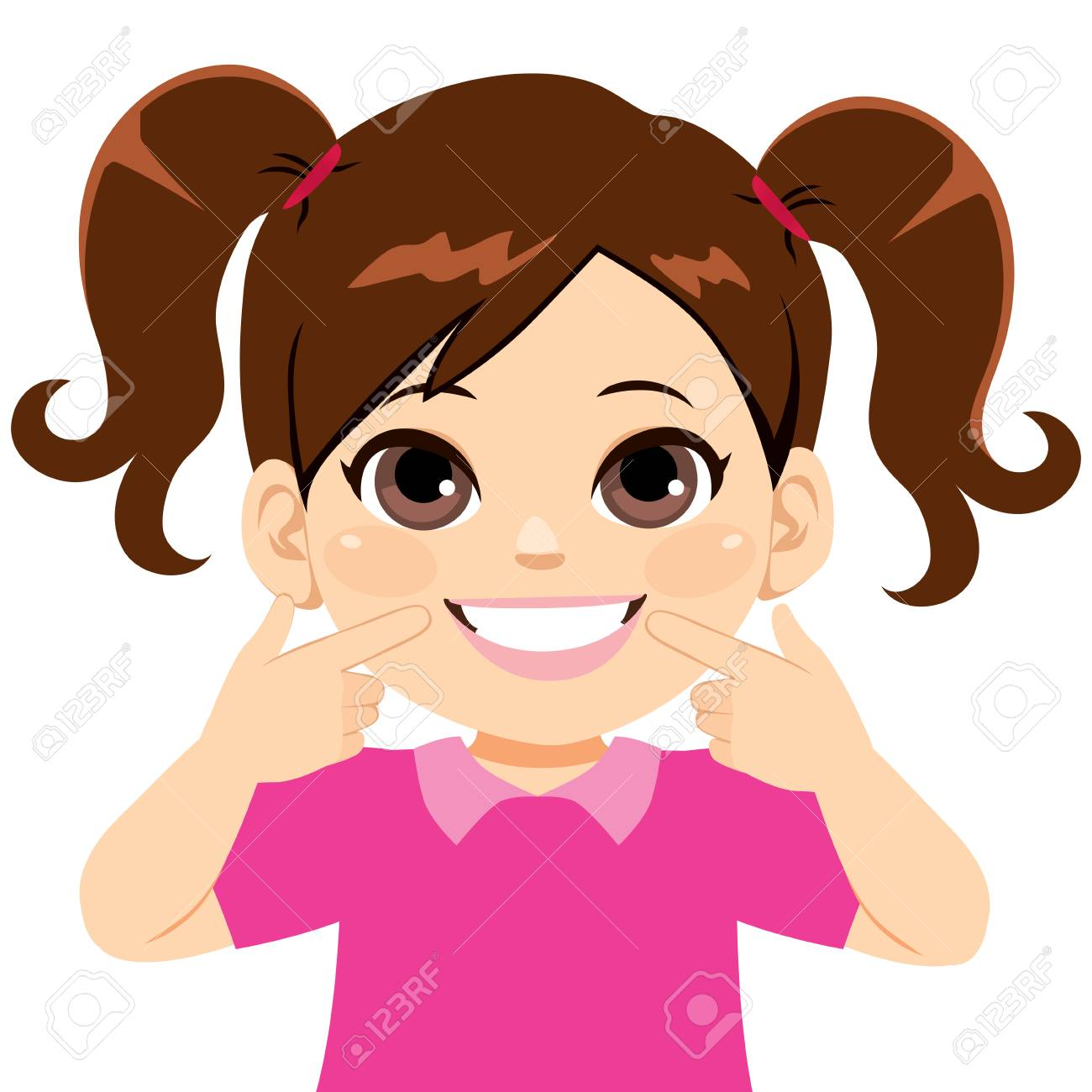 Young happy sweet little girl smiling showing her white smile pointing fingers at teeth - 113294847