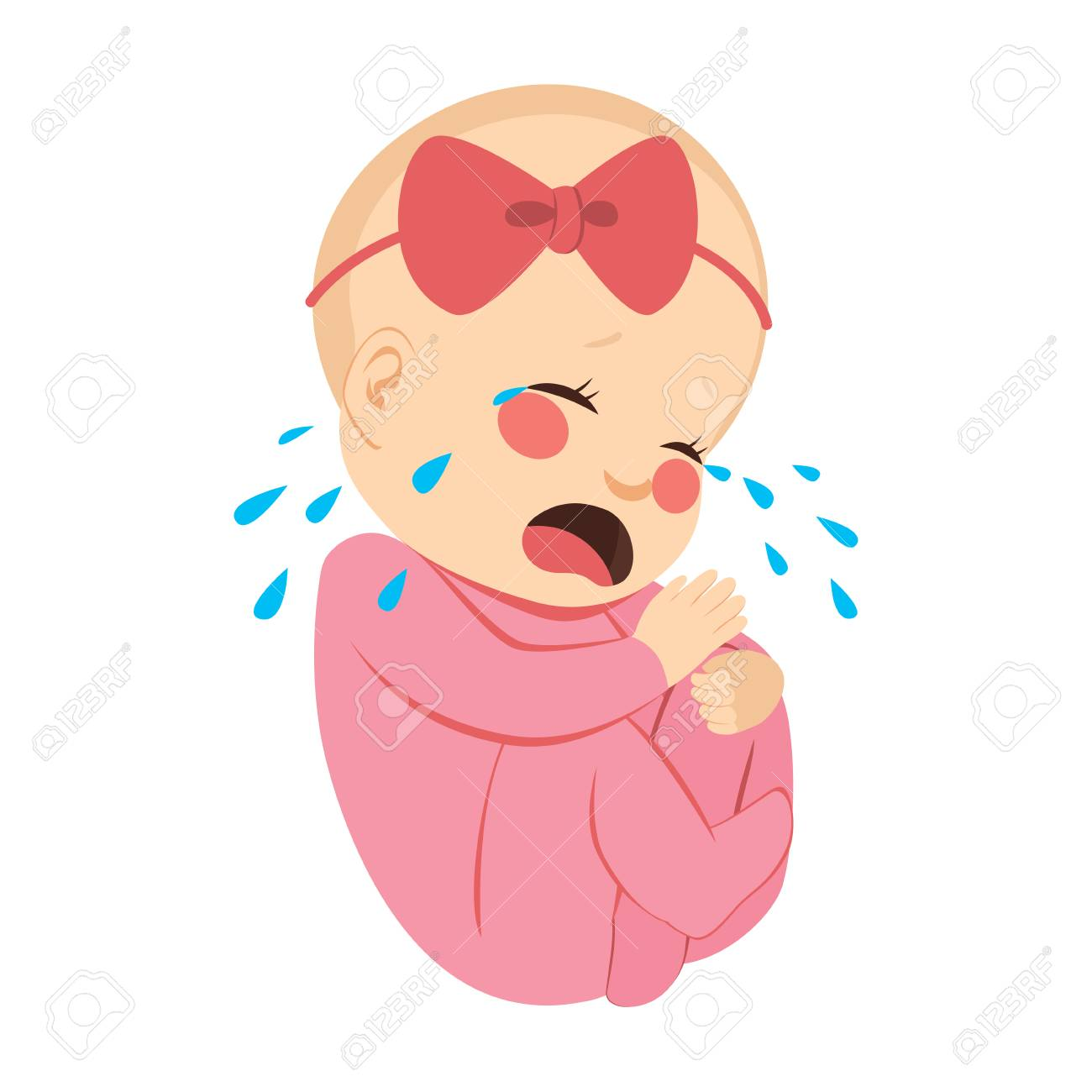 Little Newborn Baby Girl With Pink Romper And Head Band Ribbon Royalty Free Cliparts Vectors And Stock Illustration Image 118899737