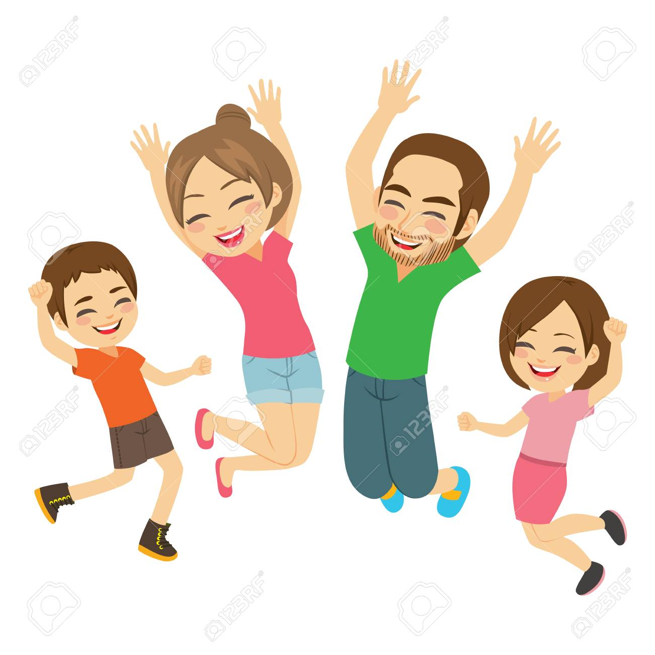 Young active happy smiling family jumping together isolated - 120373286
