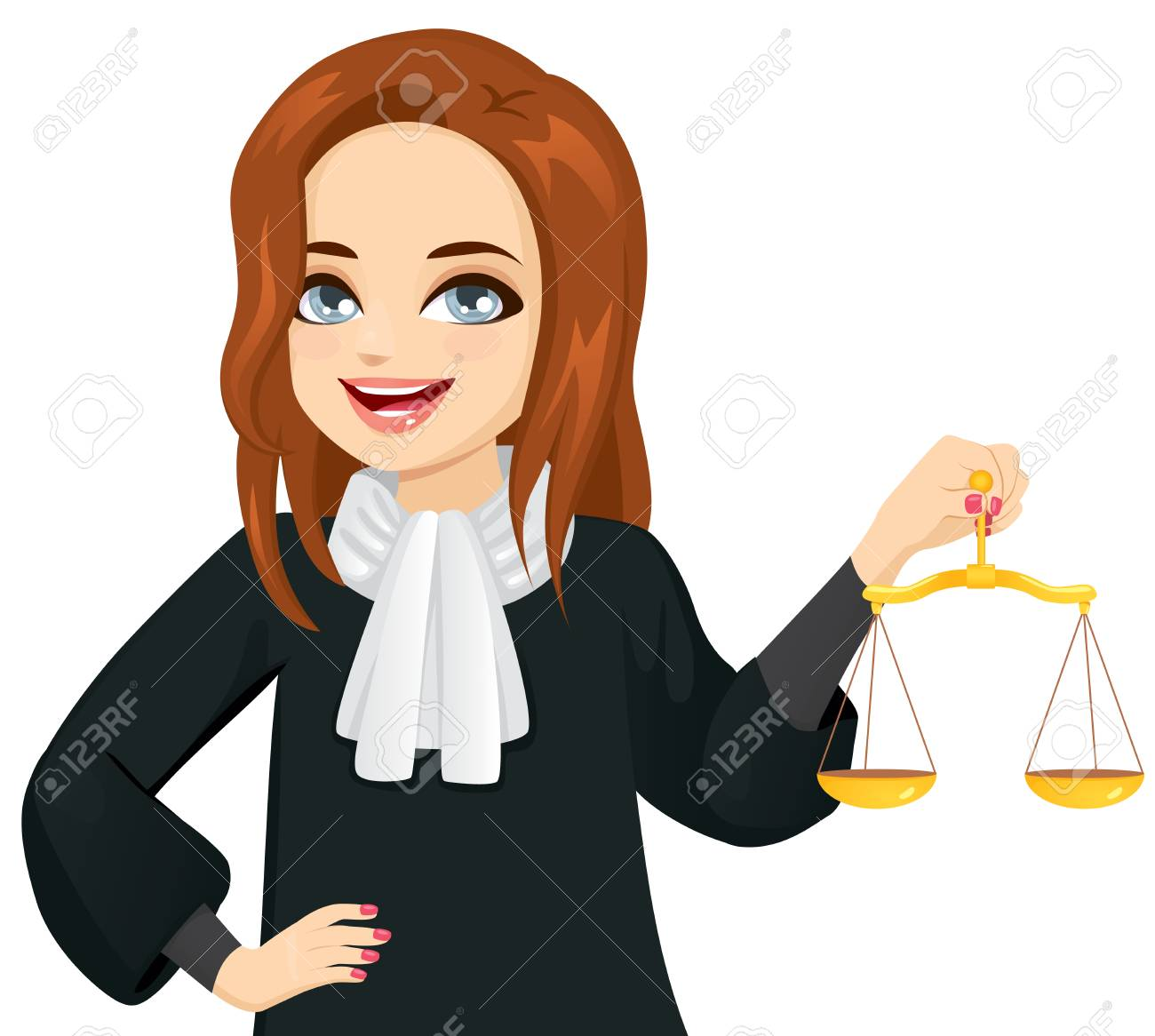 Young female judge holding golden justice scale - 125012626