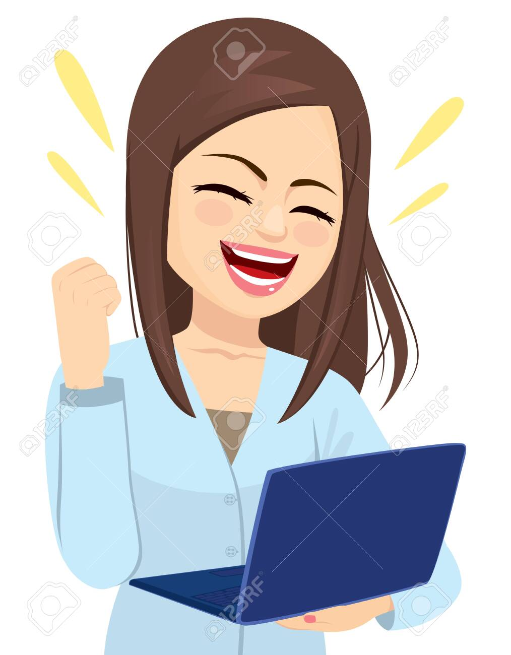 Successful happy businesswoman holding laptop cheering with fist up celebrating - 126937225