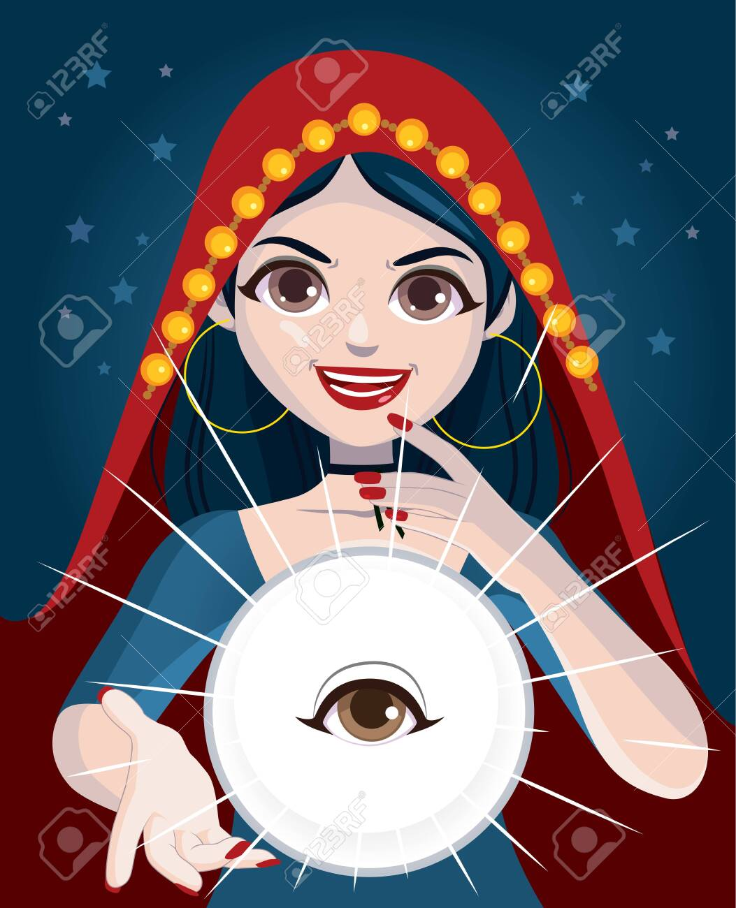 Fortune teller psychic woman using magic crystal ball with all