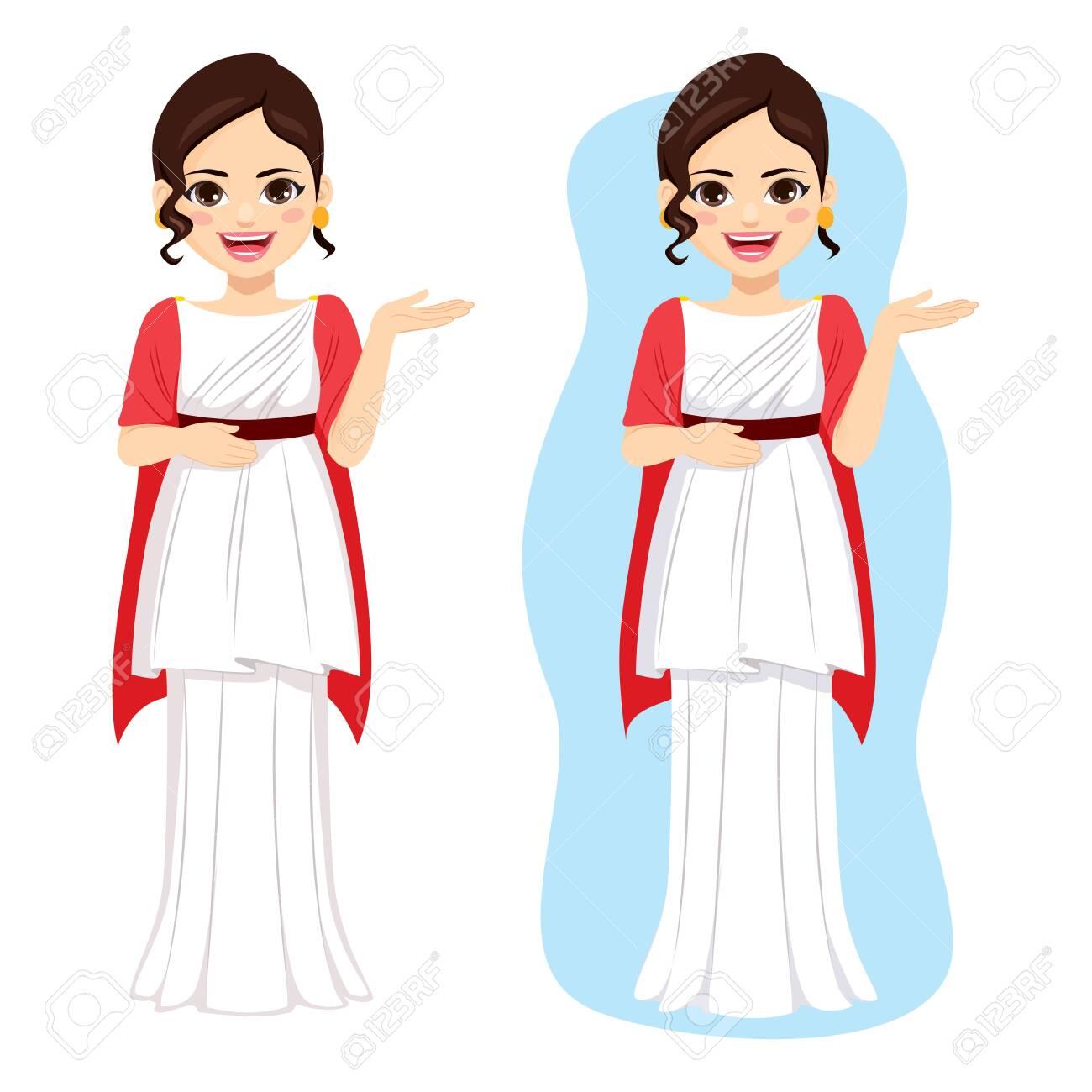 Beautiful young elegant roman woman with classic fashion Rome history dress - 129388477