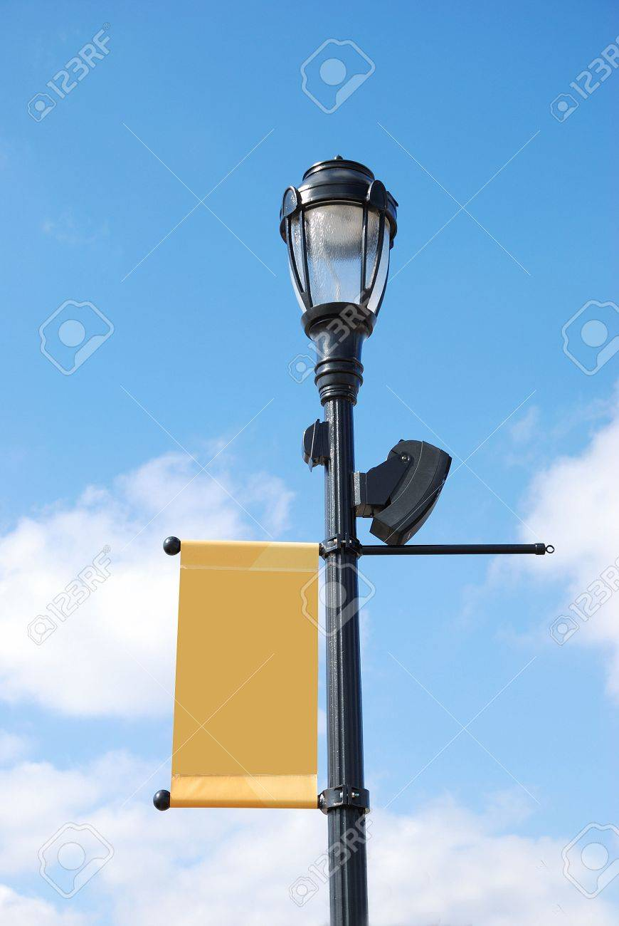 streetlight with blank banner Stock Photo - 4382476