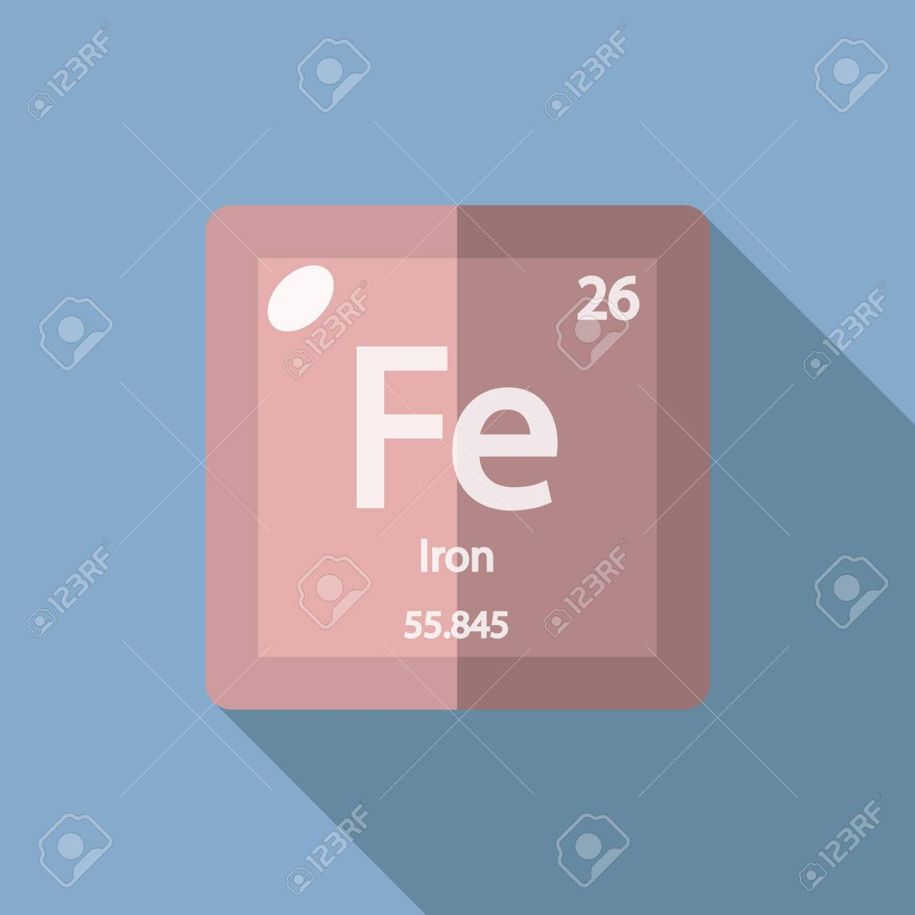 Chemical Element Iron Flat Design Style Modern Vector Illustration