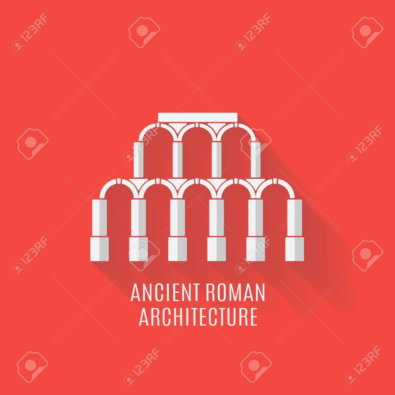 ancient roman architecture. aqueduct with long shadows. vector