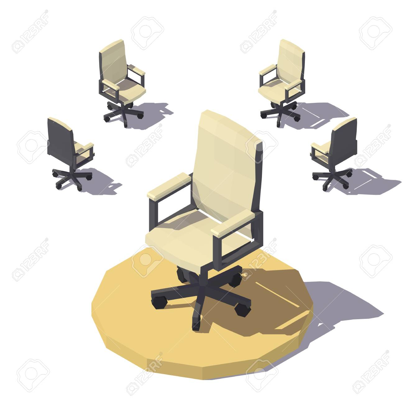 isometric office furniture vector collection. Vector Isometric Low Poly Office Chair. Flat Illustration Stock - 80569408 Furniture Collection O