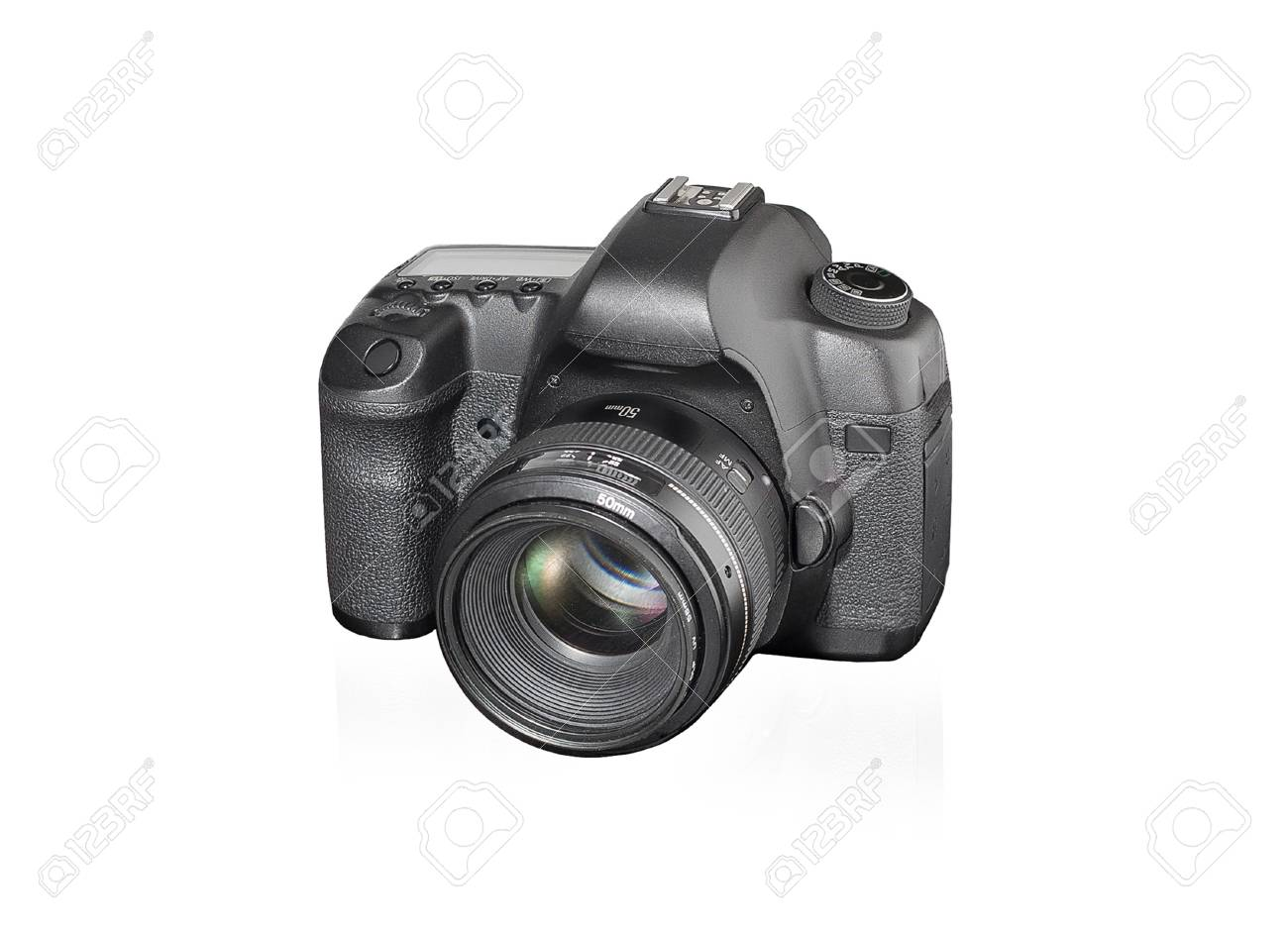 Black Fullframe DSLR Camera On White Background. Stock Photo ...