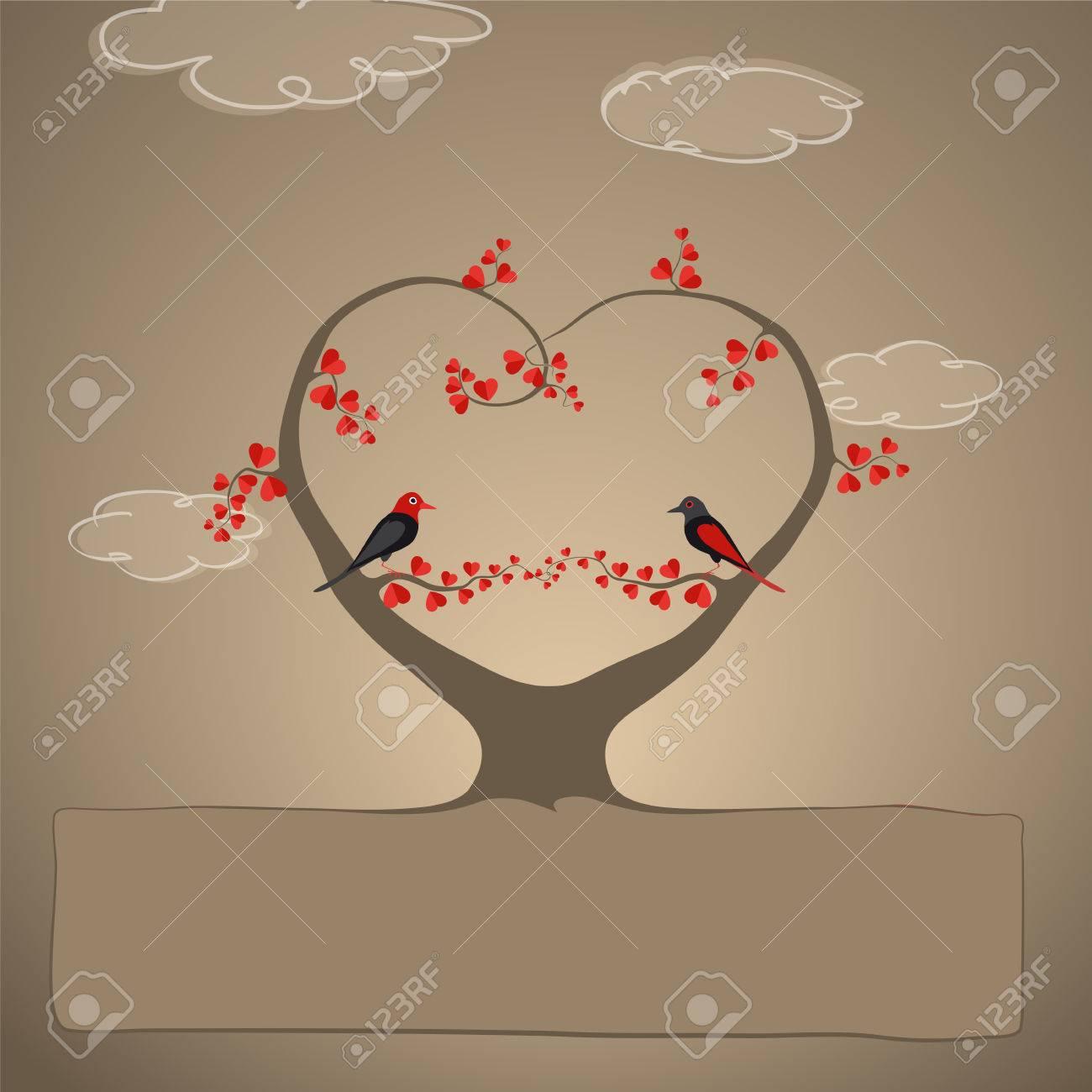 Hochzeit Einladung Oder Grusskarte Mit Vogelpaare Mit Herzförmigen Blättern  Auf Herzförmige Baum Sitzen Standard Bild
