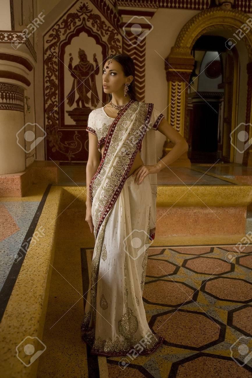 3759152548 Beautiful young indian woman in traditional clothing with bridal makeup and oriental  jewelry. Beautiful Girl