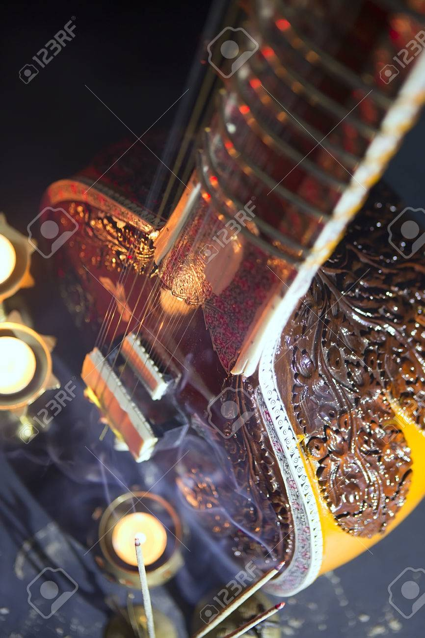 Sitar, a String Traditional Indian Musical Instrument, close-up,