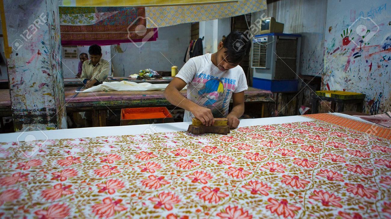 Jaipur Rajasthan India Dec 2016 Block Printing For Textile