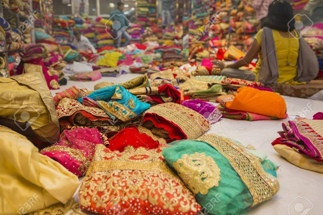 4140a2be5a Sari Shop. Indian Traditional Women's Sari clothing on Market. Buying Wedding  Sari in Jaipur