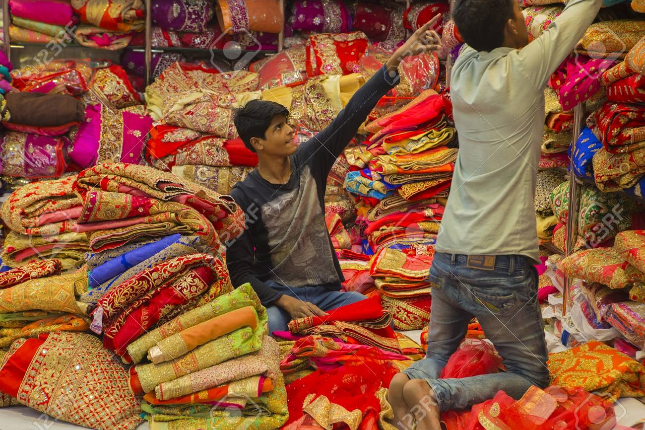 Jaipur Rajasthan India Dec 2016 Sari Shop Indian Traditional