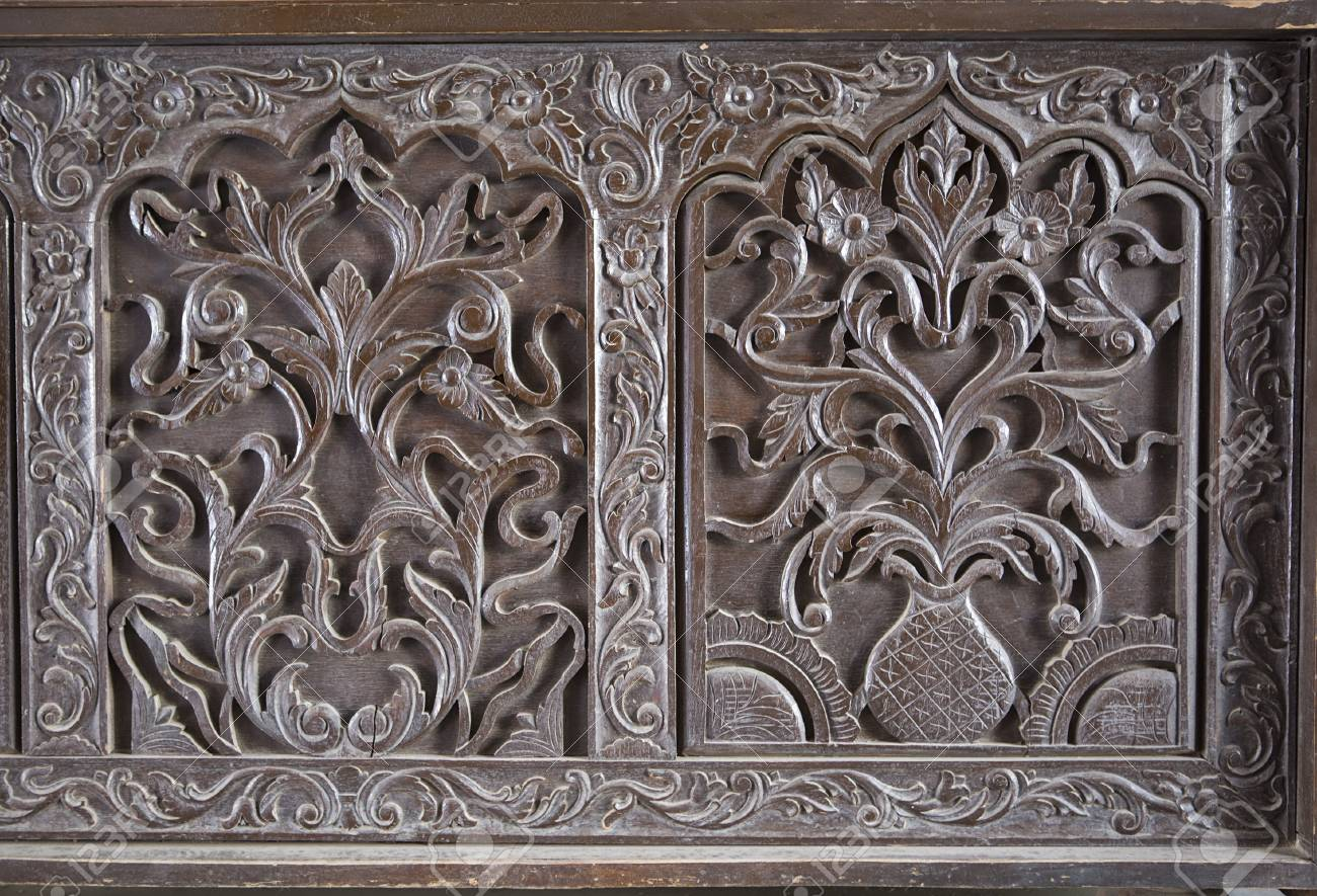 Beautiful old wooden pattern texture. Antique indian furniture, vintage  furniture with ornament. Oriental - Beautiful Old Wooden Pattern Texture. Antique Indian Furniture