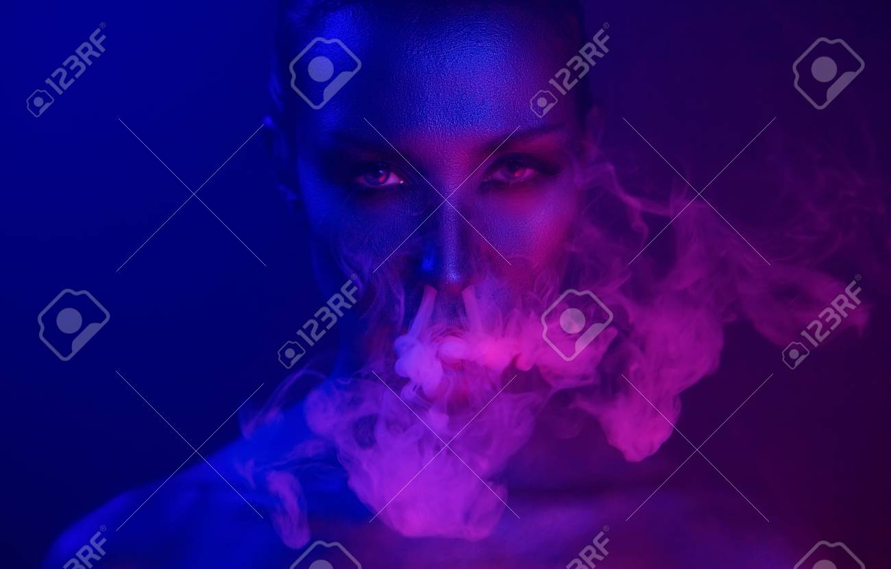 Neon night  Halloween Vape Party  Beautiful Sexy Young vamp Woman