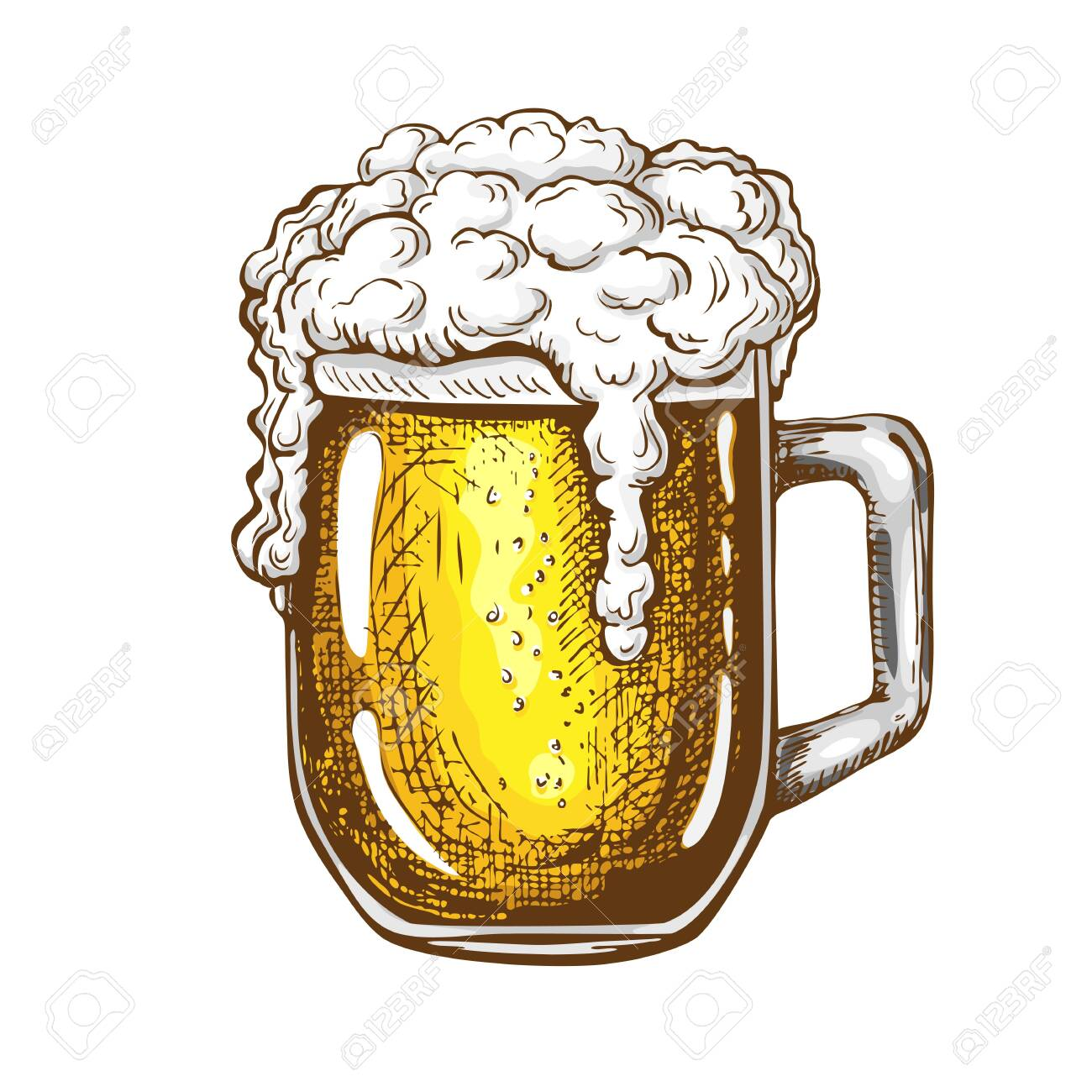 Vector Hand Drawn Traditional Beer Glass Full Of Wheat Beer With Royalty Free Cliparts Vectors And Stock Illustration Image 135263468