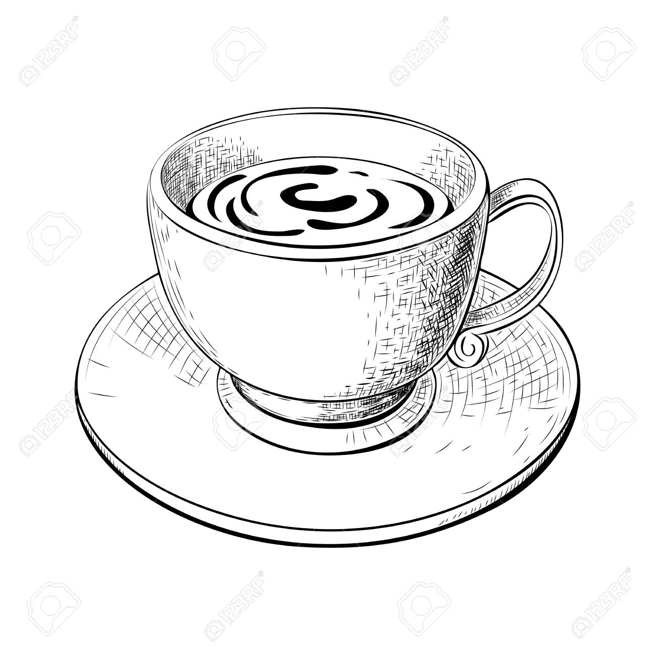 One Cup Of Coffee Or Tea With Saucer Hand Drawn Sketch Isolated Royalty Free Cliparts Vectors And Stock Illustration Image 153343468