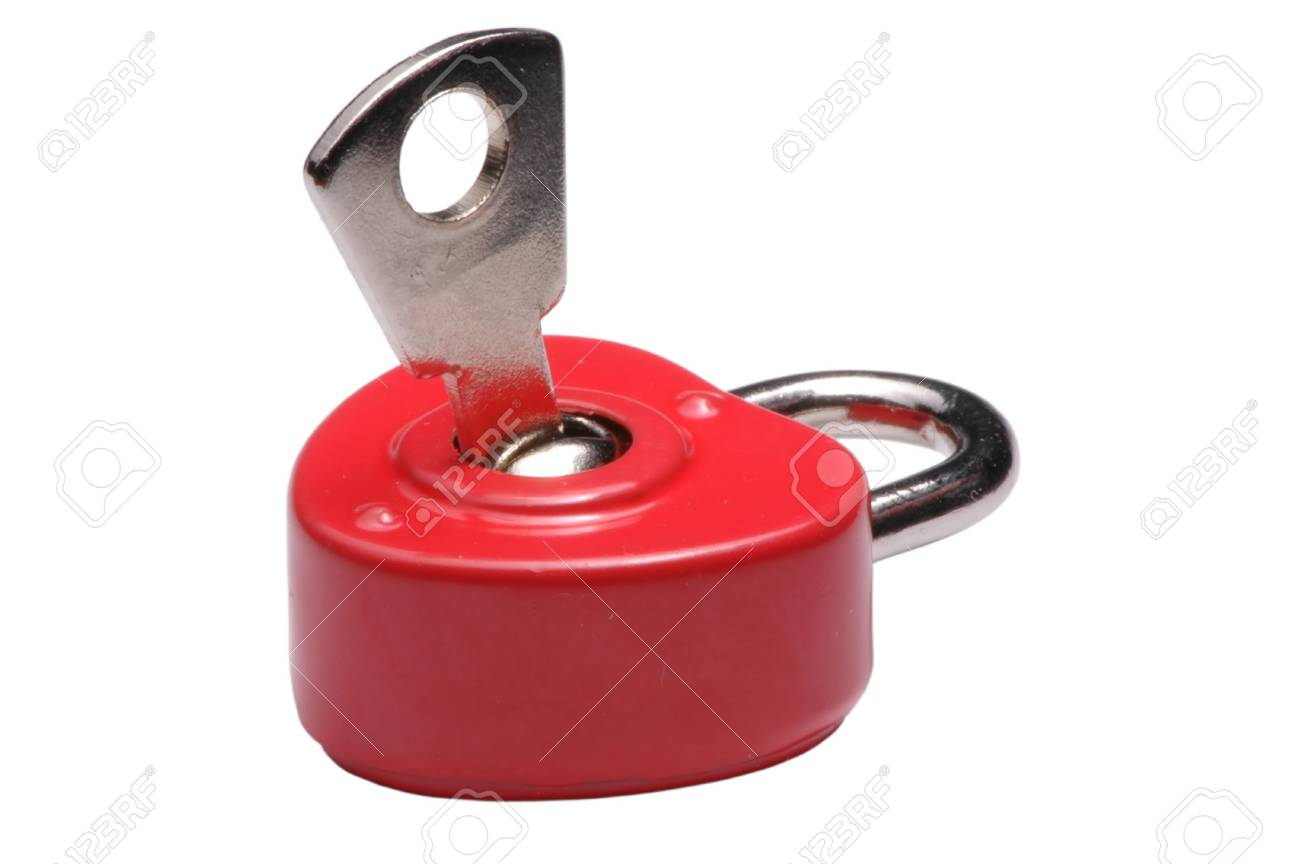 Heart-shaped small red lock with a key Stock Photo - 3020208