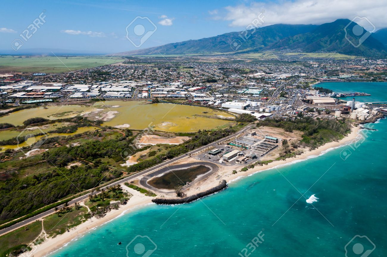 aerial view of kahului maui hawaii stock photo picture and
