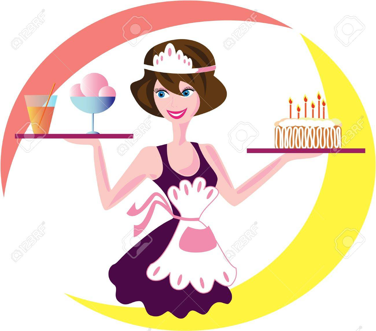 a young waitress with a smile spreads orders Stock Vector - 9388685