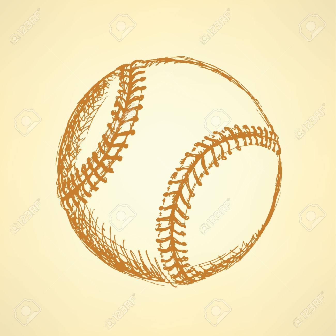 Sketch Cute Baseball Ball Vintage Background Stock Vector